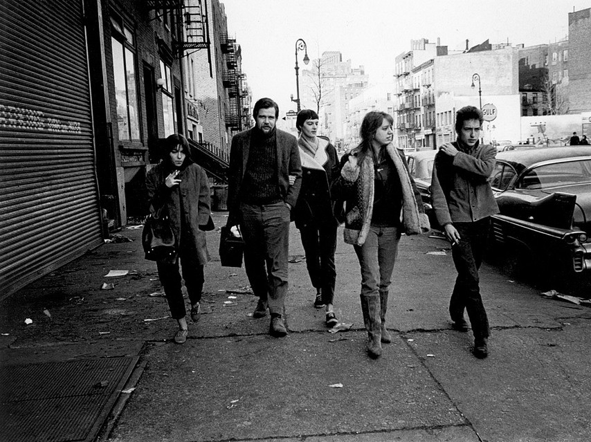 Jim Marshall-Bob Dylan, Suze Rotolo and Dave Van Ronk, 6th Avenue, New York City 1963.jpg