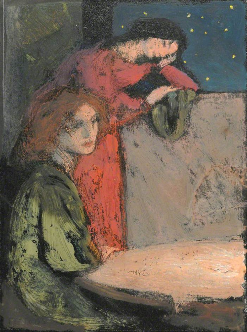 Two Girls By A Table Look Out On A Starry Night  -    Frederick Cayley Robinson  1905.jpg