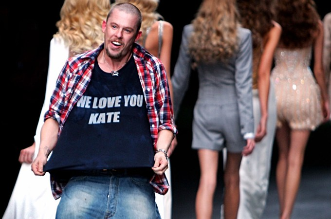 The late, great British fashion designer Alexander McQueen at the finale of his SpringSummer RTW 2006 collection in Paris.jpg